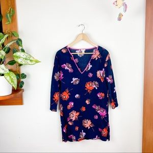 J. Crew 3/4 Sleeve Floral Blue V Neck Tunic Top S